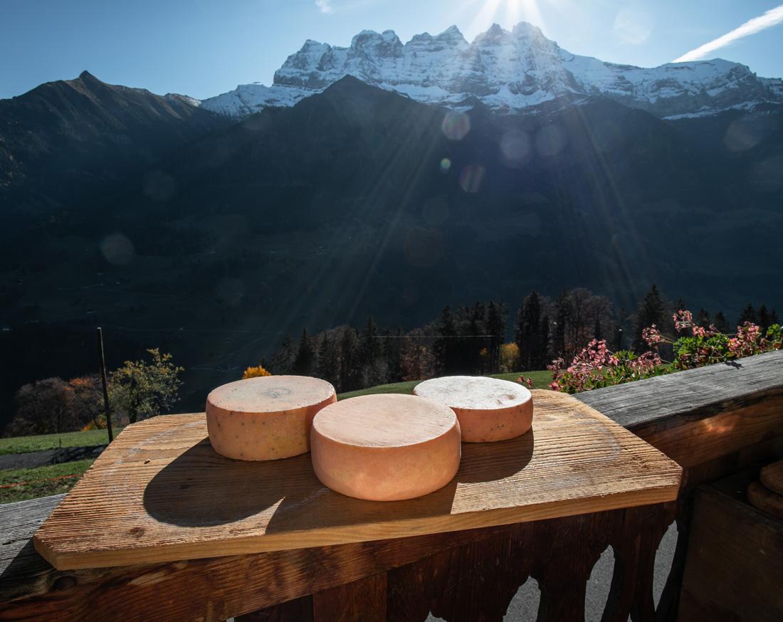 Tomme laitière du Valais du Chablais produit par Laurant Ecoeur à la ferme des Lisats avec les Dents du Midi